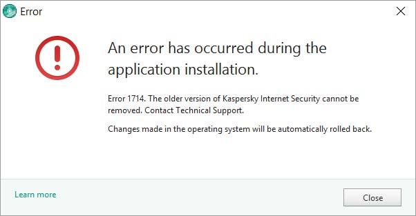 خطای 1714 در هنگام نصب کسپرسکی اینترنت سکیوریتی