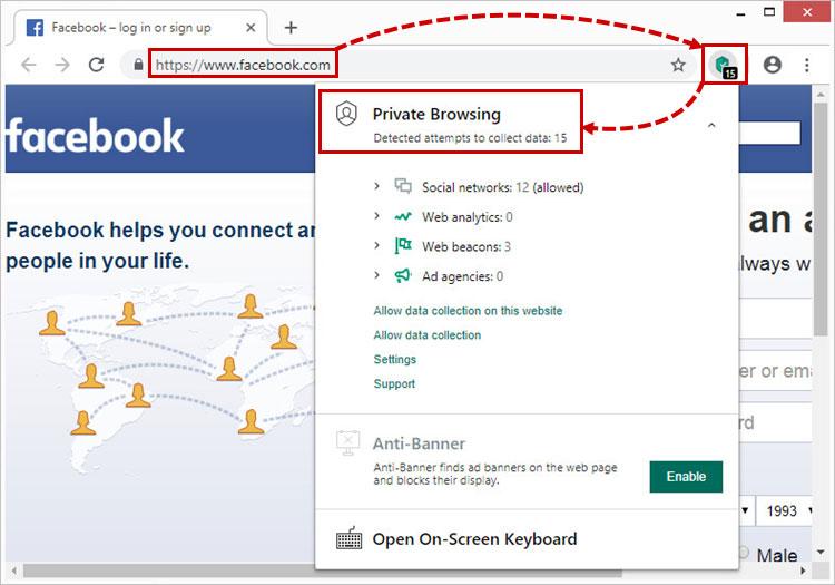 روی گزینه Private Browsing کلیک کنید.