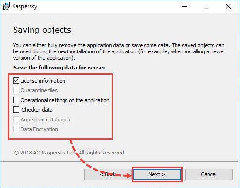 کادرهای انتخاب کنار اطلاعاتی که میخواهید ذخیره کنید را انتخاب کنید و روی next کلیک کنید.