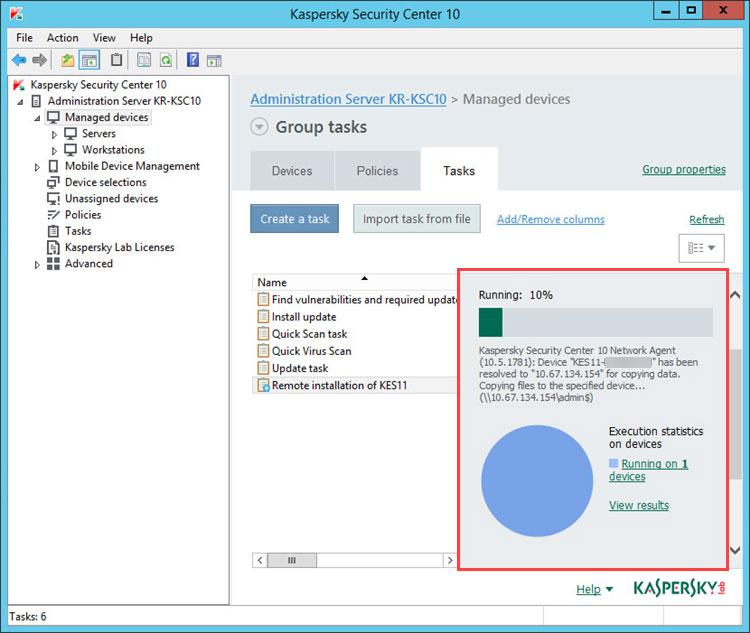 نصب آنتی ویروس آغاز خواهد شد. شما می توانید میزان پیشرفت نصب را در برگه Tasks ببینید.