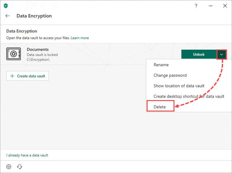رمز عبور داده ها را نمی توان ریست کرد.اگر آن را فراموش کردید Data Vault را پاک کنید و یک Data Vault جدید ایجاد کنید.