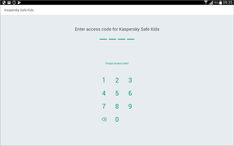 کد دسترسی مورد نیاز برای تنظیمات Kaspersky Safe Kids