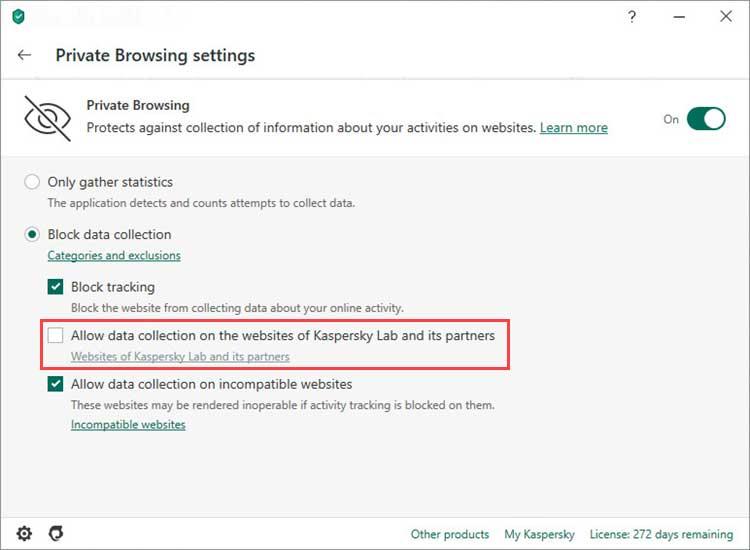 اگر می خواهید جمع آوری داده ها توسط وبسایت کسپرسکی و شرکای آن را هم مسدود کنید تیک چک باکس گزینه Allow data collection on the websites of Kaspersky Lab and its partners را بردارید.