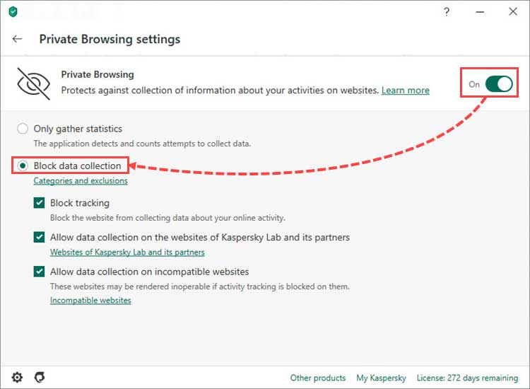 مطمئن شوید که Private Browsing فعال باشد سپس تیک چک باکس Block data collection را بزنید.