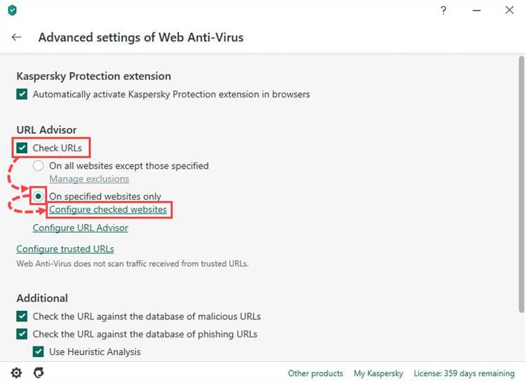 گزینه On specified websites only را انتخاب کنید و روی Configure checked websites کلیک کنید. سپس روی Add کلیک کنید آدرس وبسایت ها را وارد کنید و روی OK کلیک کنید.