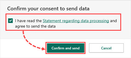 تیک چک باکس گزینه I have read the Statement regarding data processing and agree to send the data را بزنید و روی Confirm and send کلیک کنید.