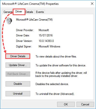 به بخش Driver بروید و روی Driver Details کلیک کنید.