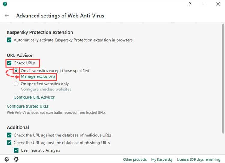 گزینه On all websites except those specified را انتخاب کنید و روی Manage exclusions کلیک کنید. سپس روی Add کلیک کنید آدرس وبسایت ها را وارد کنید و روی OK کلیک کنید.