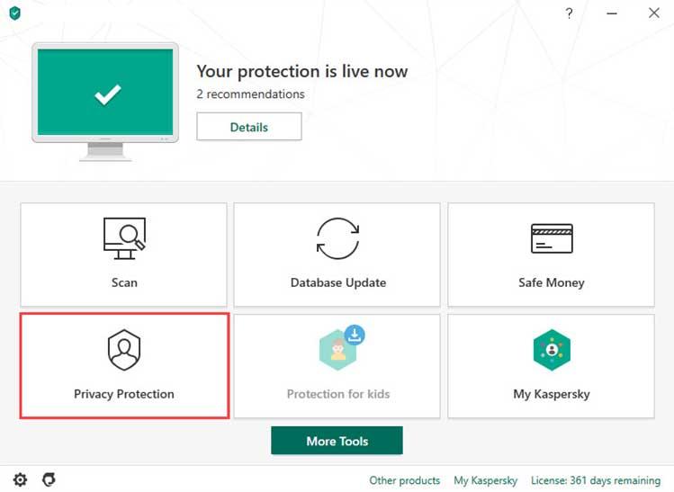 در پنجره اصلی برنامه روی Privacy Protection کلیک کنید.