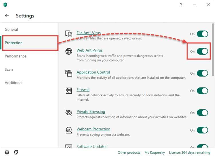 با استفاده از سوئیچ سمت راست آنتی ویروس وب را فعال و یا غیر فعال کنید.