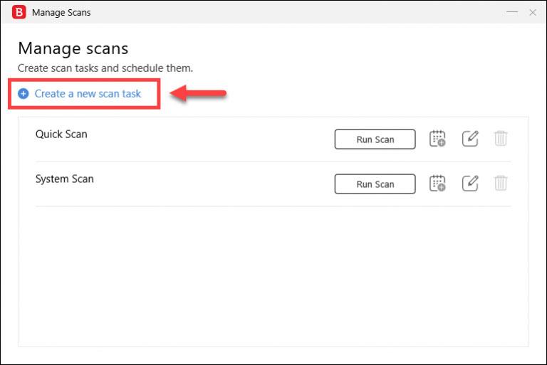 روی دکمه Create a new task کلیک کنید.