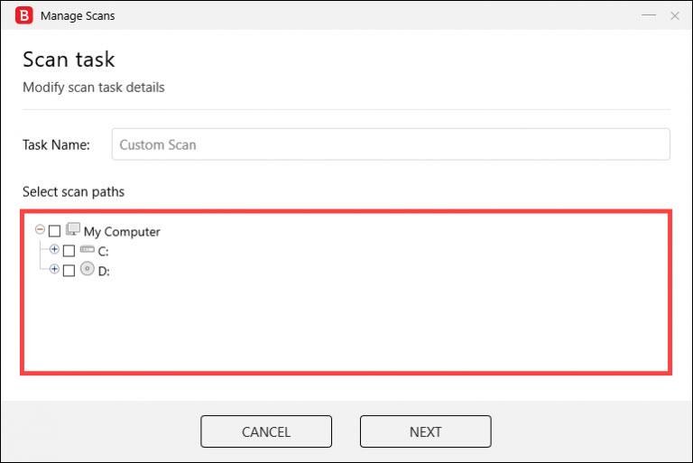 گزینه Select scan paths را انتخاب کنید ، می توانید پوشه هایی را که می خواهید اسکن کنید انتخاب کنید.