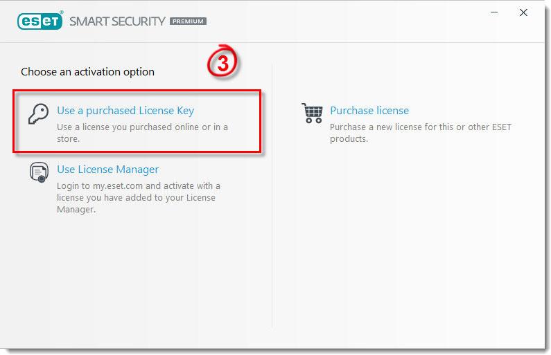 بر روی گزینه Use a purchased License Key کلیک کرده.