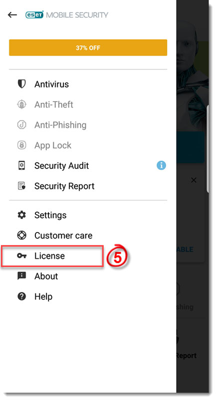 تصویر License در eset mobile security