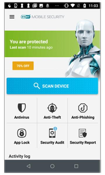 تصویر ضد سرقت در eset mobile security