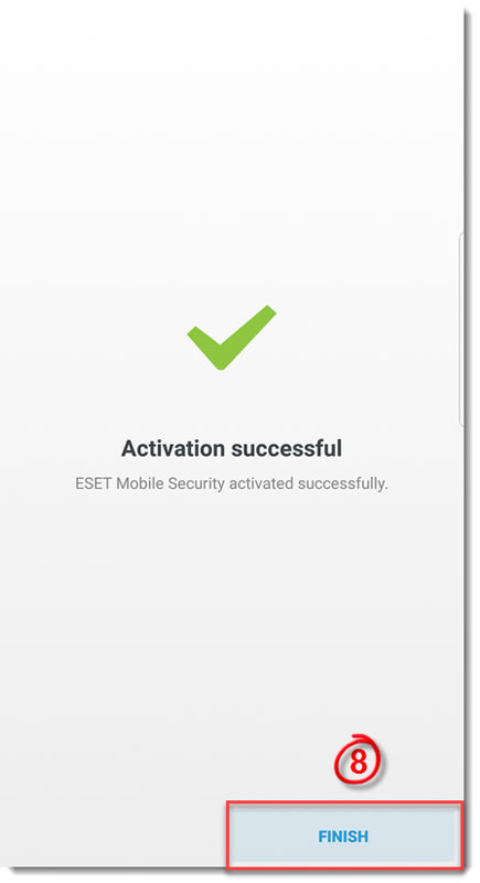 تصویر finish در eset mobile security