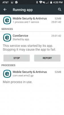 تصویر performance در eset mobile security