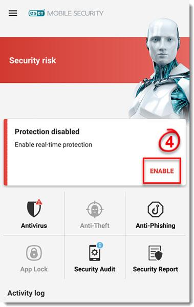 تصویر real time protection در eset mobile security