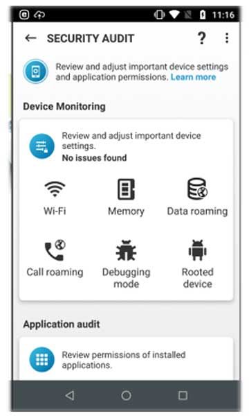 تصویر security audit در eset mobile security
