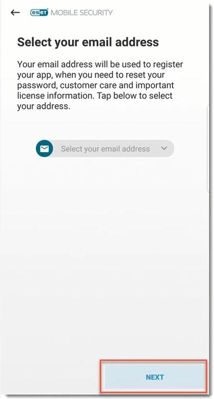 تصویر select your email address در eset mobile security