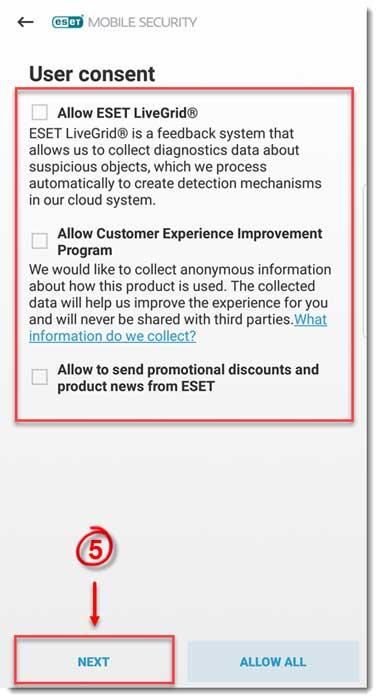 تصویر user consent در eset mobile security