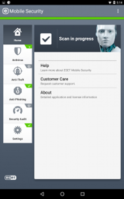 تصویر user-interface در eset mobile security