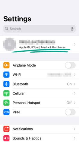 گزینه آیدی اپل (Apple ID) را انتخاب کنید.