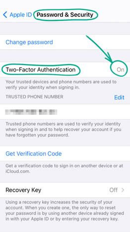 گزینه (Two-Factor Authentication) را روشن کنید.