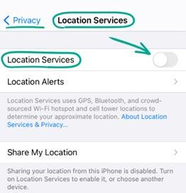 گزینه Location Services را خاموش کنید.