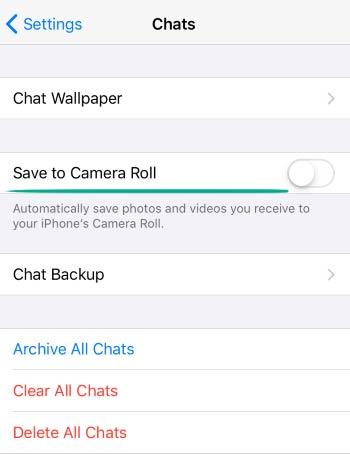 گزینه Save to Camera Roll را غیر فعال کنید.