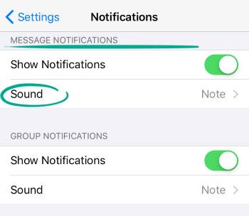 در بخشMessage Notification گزینه Sound را انتخاب کنید.